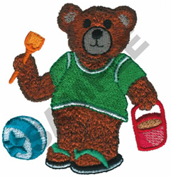 TEDDY BEAR AT THE BEACH embroidery design