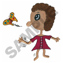 GIRL WITH BUTTERFLY embroidery design