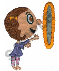 GIRL LOOKING IN MIRROR embroidery design