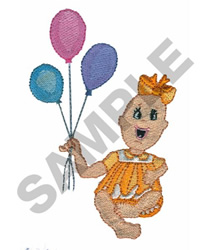 BABY WITH BALLOONS embroidery design