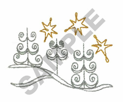 STARS AND TREES embroidery design