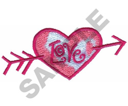 LOVE HEART & ARROW embroidery design