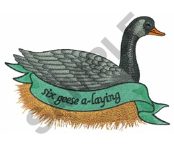 SIX GEESE A-LAYING embroidery design