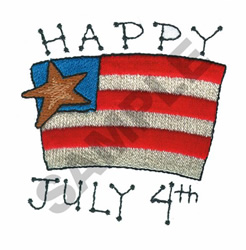 HAPPY JULY 4TH embroidery design