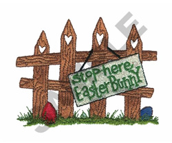 SIGN ON FENCE embroidery design
