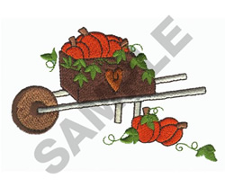 WHEELBARROW WITH PUMPKIN embroidery design