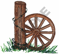 WHEEL WITH BARBED WIRE POST embroidery design