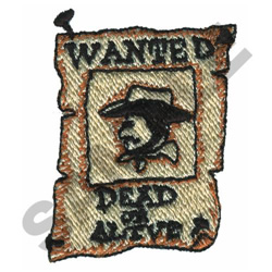 WANTED DEAD OR ALIVE embroidery design