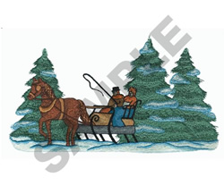 A COUPLE ON A SLEIGH RIDE embroidery design