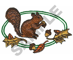 FALL SQUIRREL CREST embroidery design