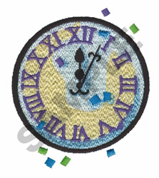 NEW YEAR CLOCK embroidery design