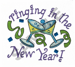 RINGING IN THE NEW YEAR embroidery design
