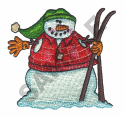 SNOWMAN & SKIS embroidery design