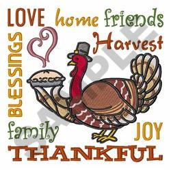 Thankful Turkey embroidery design