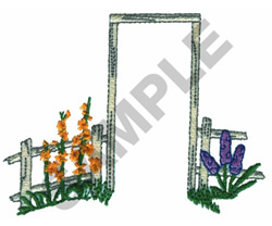 FENCE AND FLOWERS embroidery design