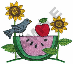 WATERMELON BIRD SCENE embroidery design