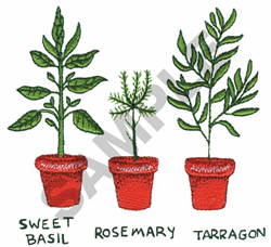 POTTED HERBS embroidery design