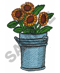 SUNFLOWERS IN CAN embroidery design