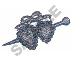 DOUBLE HEART HAIR PIN embroidery design