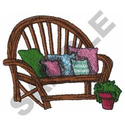 GARDEN BENCH W/ PILLOWS embroidery design