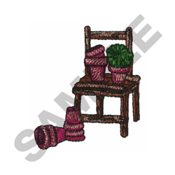 CHAIR & FLOWER POTS embroidery design