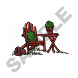 GARDEN TABLE AND CHAIR embroidery design