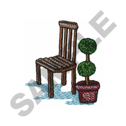 GARDEN CHAIR AND TOPIARY embroidery design