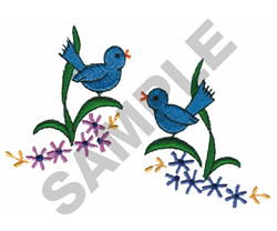 LITTLE BLUE BIRDS embroidery design