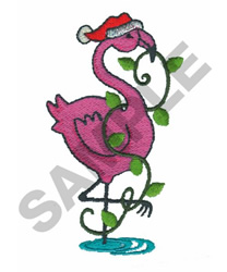 FLAMINGO IN SANTA HAT embroidery design