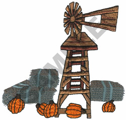 WINDMILL WITH PUMPKINS embroidery design