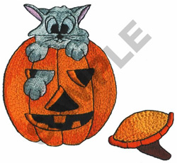 CAT IN JACK-O-LANTERN embroidery design