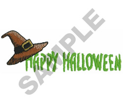HAPPY HALLOWEEN WITCH HAT embroidery design