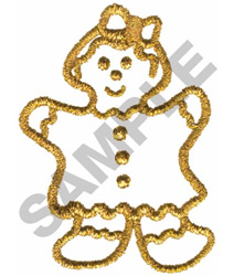 METALLIC GINGERBREAD GIRL embroidery design