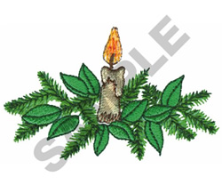 CANDLE AND HOLLY embroidery design