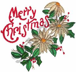 MERRY CHRISTMAS POINSETTIAS embroidery design