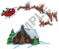 SANTA AND HIS SLEIGH embroidery design