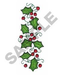 HOLLY & BERRIES embroidery design