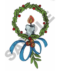 CHRISTMAS WREATH W/CANDLE embroidery design