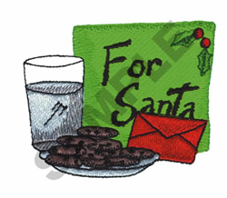 COOKIES AND MILK FOR SANTA embroidery design