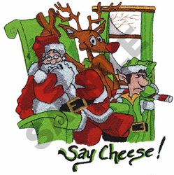 SAY CHEESE WITH SANTA embroidery design