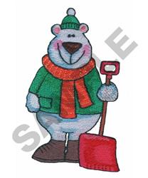 POLAR BEAR W/SHOVEL embroidery design