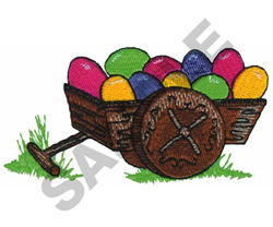 EASTER EGGS IN  WAGON embroidery design
