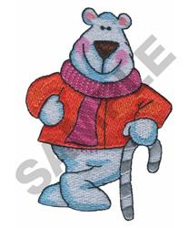 POLAR BEAR W/CANDYCANE embroidery design