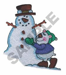 POLAR BEAR WITH SNOWMAN embroidery design