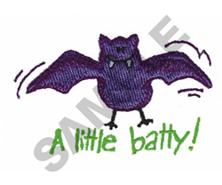 A LITTLE BATTY! embroidery design