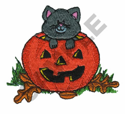 KITTEN & JACK-O-LANTERN embroidery design