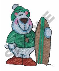 POLAR BEAR W/SNOW BOARD embroidery design