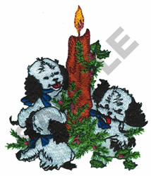 CHRISTMAS CANDLE AND PUPPIES embroidery design