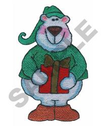 POLAR BEAR W/PRESENT embroidery design