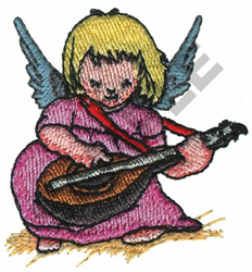 ANGEL PLAYING MANDOLIN embroidery design